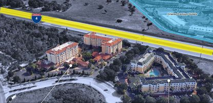 Marketing aerial image showing the Hilton Garden Inn and Homewood Suites (outlined in red) on Marbella Palm Court in Lake Buena Vista, just off Palm Parkway, which were two of three hotels bought Friday by Tishman Select Partners.