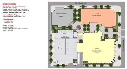 Conceptual site plan for the Lawrence Center redevelopment program on Rollins College's campus, with the first phase to be a multi-story parking garage.