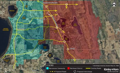 Osceola has hired Kimley-Horn for a road corridor study of the Narcoossee community. The yellow dotted lines show potential future roads, linking the Narcoossee community (in blue) to Deseret Ranch property (in red).