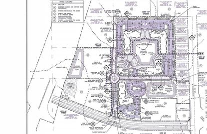 Pictured above is a site plan for the 25 acres on Oviedo Mall Boulevard that The Klein Co. wants to develop in phases as multi-family, office and hotel. The Phase 1 apartments are highlighted in purple.