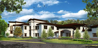 The latest north rendering for the proposed Villa Tuscany memory care facility in Winter Park, now standing two stories instead of three.