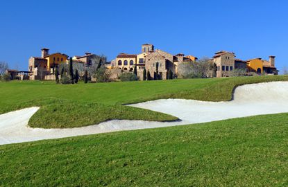 Bella Collina's hilltop clubhouse is visable from a distance.