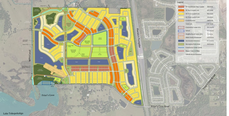 Fontana Lakes is a 677-acre mixed-use master-planned community that will have a marina on Lake Toho's Friar's Cove.