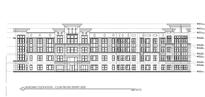 This is a building elevation of the proposed 5-story, 297-unit apartment complex proposed by Wood Partners as an expansion of The Rialto in the Dr. Phillips area.