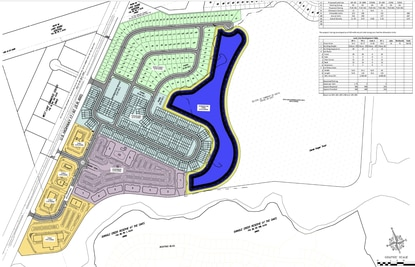 The proposed Osceola Village Center on John Young Parkway would have a mix of retail uses (yellow), apartments (pink), townhomes (blue) and single family homes (green).