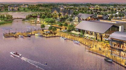 A rendering of Hamlin Town Center overlooking Lake Hancock. The town center sits outside of Village I, to the north, and is being master-planned by Boyd Development.