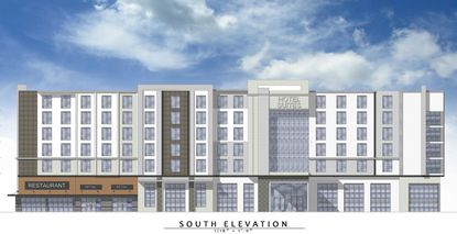 An elevation of the proposed seven-story hotel (140 keys) for property at 4751 Vineland Road, just north of the new City Furniture site now under construction.