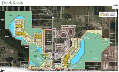 The proposed Brack Ranch subdivision in the East Narcoossee Area straddles its namesake road and connects to adjacent neighborhoods.