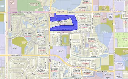 Highlighted in blue is the 288-unit Buchanan Bay Townhomes property, located at the intersection of S. Texas and Holden avenues, east of S. John Young Parkway and the Mall at Millenia area.