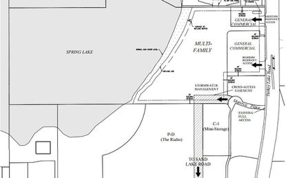 """This LUP document from 2015 shows where the second phase of Rialto apartments would be built by Wood Partners. Labled """"Multi-Family"""" on the map, the space covers about 6.7 acres of upland, directly east of Spring Lake, northeast of the current Rialto Phase 1, and northwest of the intersection of Turkey Lake and Sand Lake roads."""