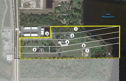 The owners of these seven contiguous lots on Narcoossee Road have a sale contract with Tampa-based 2nd Wave Development.