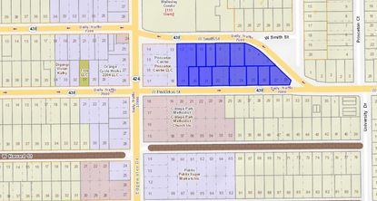 Thirteen parcels highlighted in blue have been acquired by multi-family developer Pollack Shores since Dec. 28 for its The Princeton apartment complex in College Park, off the Edgewater Drive-W. Princeton Street intersection.
