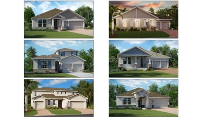 Lennar offers a variety of floorplans for its 60-foot lots, including its Next Gen product (lower left) with a separate garage and private entrance.