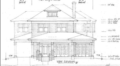 "A sketch of the ""American Foursquare""-style home planned by Scott Dunkle and his architect for a new home, planned in a historic district of Downtown Orlando."