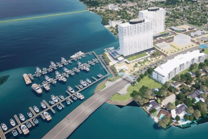 The proposed 11-acre Daytona Gateway Marina mixed-use project will be a luxury apartment and hotel development featuring a 138-slip marina facing the east side of the Halifax River in Daytona Beach.