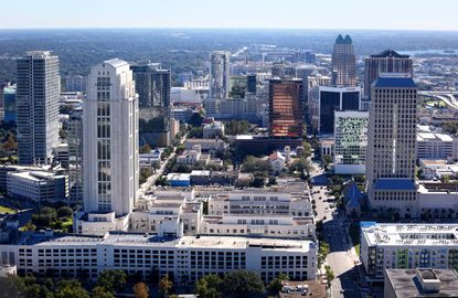 This view from 600 feet altitude shows the skyline of downtown Orlando.