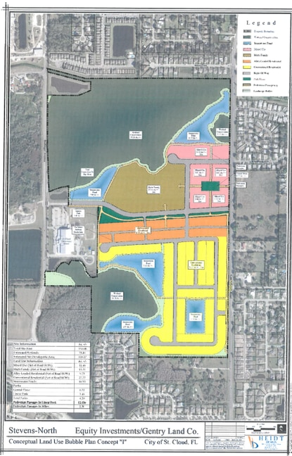 The concept plan by Equity Investments and Gentry Land Company shows a mix of residential uses in yellow and orange, a 276-unit apartment complex (brown) and roughly 11 acres of non-residential mixed-use/commercial (pink).