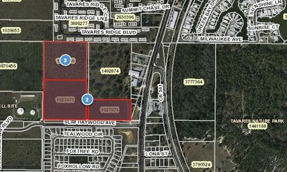 Located northwest of CR 561 and Slim Haywood Drive, highlighted parcels labeled 2 are abandoned orange groves owned by the Whitaker Family Trust. Parcel 3 is the newly purchased land that is being considered as an annexation into Tavares from Lake County as a commercial mixed-use parcel. Parcel 1492874 is a newly-built Publix and its parking lot.
