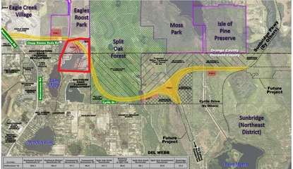 Consultants for CFX are recommending a new alignment for the Osceola Parkway Extension that minimizes impacts to Lake Ajay Estates and the Split Oak Forest. The toll road would bisect a 200 acre parcel (red) recently purchased by Tavistock Development Company.