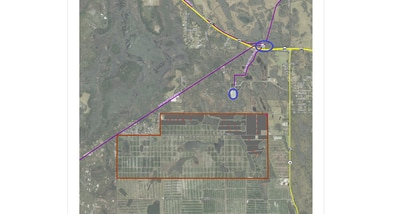 Invenergy is eyeing this 3,065-acre citrus grove south of St. Cloud for a new solar facility. The solar arrays could be placed in the areas shaded gray. Each red dot represents an inverter.