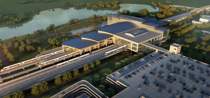 A docking center for four modes of transportation will be accompanied by a large garage, as Orlando International Airport builds out its south side with a new terminal.