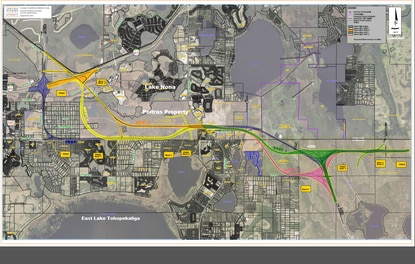 CFX has brought in a different engineering firm to reexamine potential routes for the Osceola Parkway Extension, including some through Medical City and the Poitras land that is under contract to Tavistock Development. The route shown in purple is the OCX preferred alternative.
