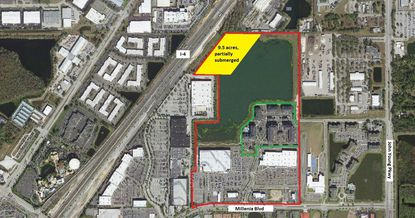 Outlined in red is the complete boundary of the Gardens on Millenia master plan area, off Millenia Boulevard. Outlined in green is the existing ContraVest apartments, and highlighted in yellow is the 9.5-acre segment targeted for future multifamily development.