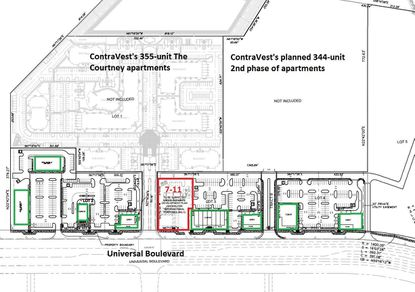 This revised Development Plan for Destination Shoppes shows eight retail buildings (in green) totaling 51,438 square feet across 2.75 acres. A separate plan for 7-Eleven (in red) places the convenience store at the entry to The Courtney apartments.