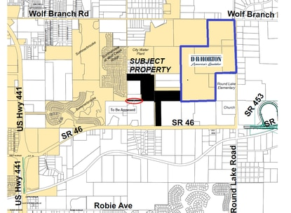 The 101-acre subdivision would be developed on the property shown in black. It would connect to D.R. Horton's Timberwalk community to the east.
