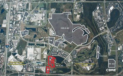 Universal files temporary parking plan for land along Destination Pkwy near OCCC