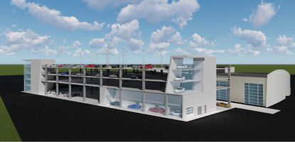 A conceptual rendering of a four-story garage addition to the Infiniti dealership on Millenia Boulevard.