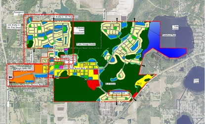 This revised conceptual master plan shows the community park and fire station site have been moved to the north side of Center Lake Ranch Boulevard. The potential gated community in the northwest quadrant is outlined and marked in a hatched pattern.
