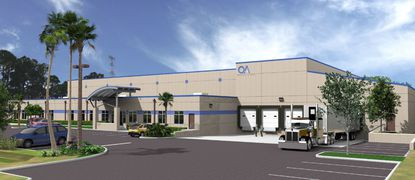 Rendering of the planned 45,000-square-foot new warehouse and office building for Ocean Air Enterprises on Municipal Drive, near Orlando's tourism corridor.
