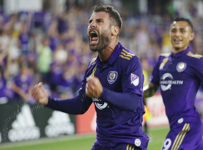 Orlando player Antonio Nocerino (23) celebrates after scoring a goal during the New England Revolution at Orlando City Soccer MLS game at Orlando City Stadium in September 2017.