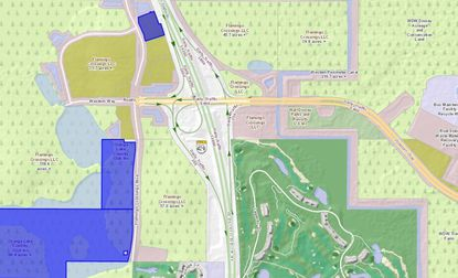 The blue parcel near the top of the map was acquired last week by JL Properties for its third hotel development at Flamingo Crossings. In blue at lower left are two Orange Lake Resort-owned parcels where 23 acres are being marketed for sale.