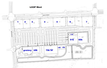 Courtelis Company is seeking an environmental permit for a 50-acre shopping center just south of the LOOP West in Kissimmee. It calls for seven commercial outparcels (numbered) on Osceola Parkway and more than 300,000 square feet of grocery and big box retail.
