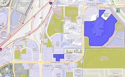 Highlighted in blue is the Artegon Marketplace, where a new helipad is being proposed in the southwest corner of the parking lot. In the center of the map, also highlighted, is Orlando Crossings West, where another helipad was proposed for city approval in late October.