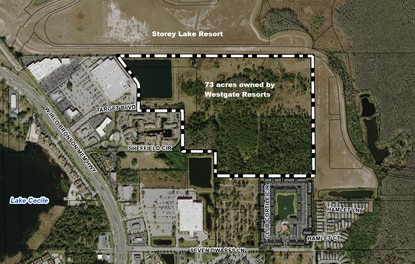 Storey Lake developer Lennar Homes is seeking to rezone the 73-acre parcel adjacent to the resort community. The site is owned by Westgate Resorts.