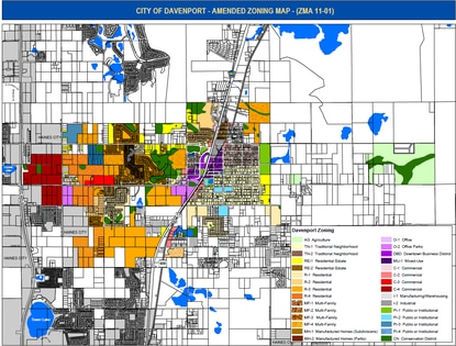 This map shows the existing zoning categories for the City of Davenport. Low density residential zones are shown is shades of yellow and orange. The City Commission will vote on whether to create a new zone, R-5, to allow the homebuilder-preferred 50-foot lot width.