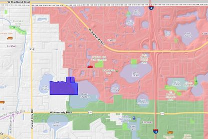 Highlighted in blue are the 48 acres Bainbridge Companies plans to develop in the southwest corner of Maitland, bordering Lake Shadow.
