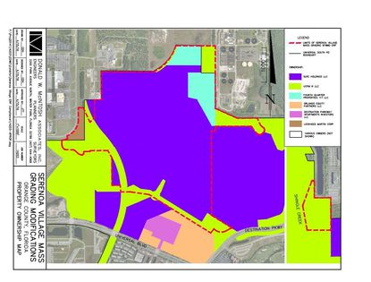 Outlined by the red boundary is the Serenoa Village Mass Grading Permit area. Within that the purple- and green-colored land is owned by affiliates of Universal Orlando.