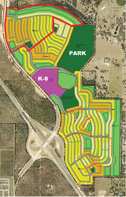 This subdivision plan shows phase 1-5 of the Hills of Minneola residential development. Phase 1, outlined in red, was sold to Meritage Homes.
