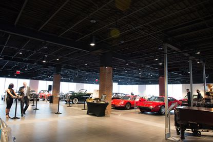 A view upon entering the Majors Motors private event space, where more than 60 classic cars are on display.