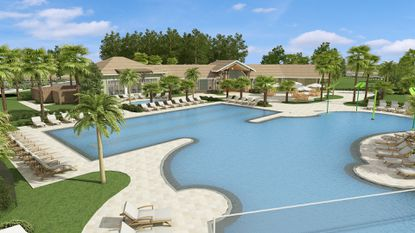 A rendering of the rear pool area for a planned clubhouse at Lennar's Storey Park in Orange County.