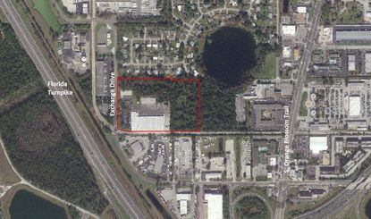 Outlined in red is the 15.4-acre parcel on Exchange Drive, southwest of The Florida Mall, that houses the FreshPoint distribution center now planned for expansion.