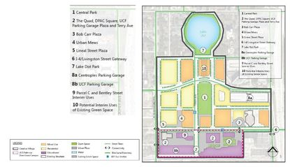 This Parks & Open Space Master Plan for Creative Village in downtown Orlando shows the location of 10 types of planned green space on the campus, in relation to the color-coded building types.