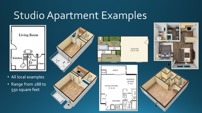 Osceola County presented several different studio apartment floorplans to illustrate the type of units that would be eligible for the reduced school impact fee.