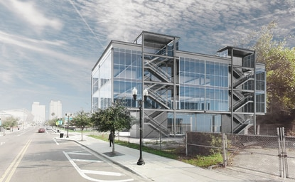 The 4-story building at 802 W. Church St. would have retail space on the ground floor. The offices in the upper floors could be accessed from the exposed stairways that lead all the way up to the roof terrace.