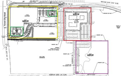 This site plan for the Maitland West development shows the Phase 1 apartments (red) now under construction, the planned Phase 2 apartments site (purple) and the Phase 3 commercial (yellow), within which two pads are being sought for a restaurant and emergency clinic (green).
