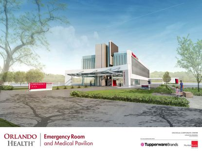 Tupperware and Orlando Health announced plans for a 60,000 square foot freestanding emengency room, outpatient surgery center and medical pavaillion at the intersection of Orange Avenue and Osceola Parkway, near the new SunRail station.